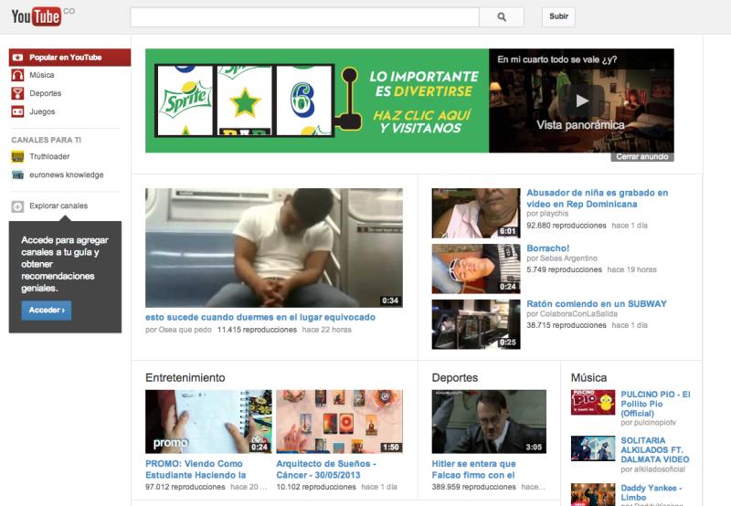 ejemplo de masthead youtube colombia